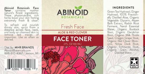 Aloe and Red Clover Face Toner by Abinoid Botanicals