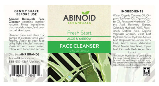 Aloe and Yarrow Face Cleanser by Abinoid Botanicals, label