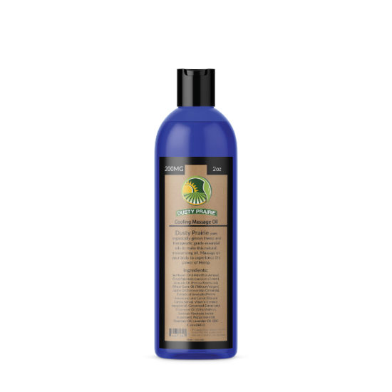 CBD and Hemp Massage Oil Cooling by Dusty Prairie, 200mg