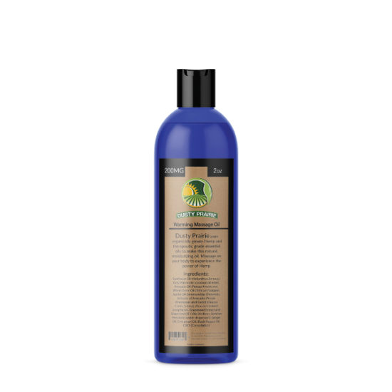 CBD and Hemp Massage Oil Warming by Dusty Prairie, 200mg
