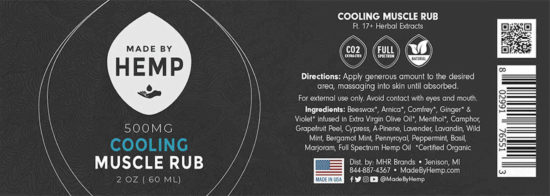 CBD Cooling Muscle Rub by Made by Hemp, label