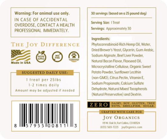 CBD Dog Treats by Joy Organics, 60mg, Label