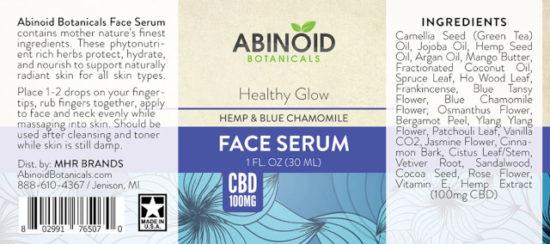 CBD Hemp and Blue Chamomile Face Serum by Abinoid Botanicals, 1000mg, label