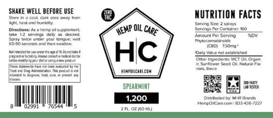 CBD Oil Spray Tincture by Hemp Oil Care, Label