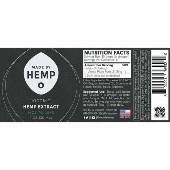 CBD Oil Tinctures by Made by Hemp, label
