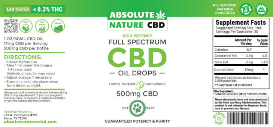Full-spectrum CBD Oil for Pets by Absolute Nature, 500mg, label