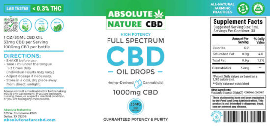 Full-spectrum CBD Oil Tincture by Absolute Nature, 1000mg