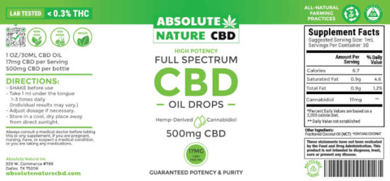 Full-spectrum CBD Oil Tincture by Absolute Nature, 500mg