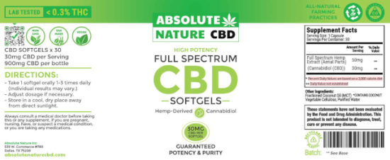 Full-spectrum CBD Softgels by Absolute Nature, 900mg, label