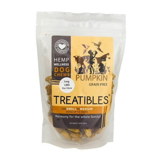 Hemp Wellness Dog Chews Pumpkin 4.8oz, Treatibles, 1mg
