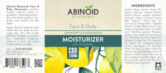 Lemon and Sandalwood Face and Body Moisturizer by Abinoid Botanicals, label