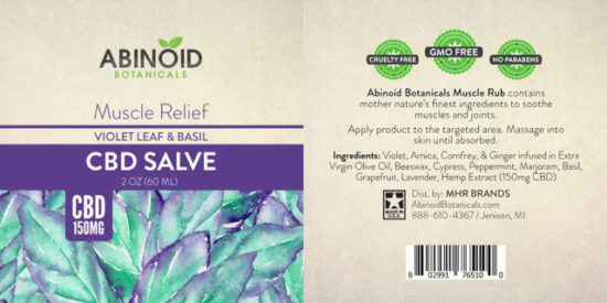 Violet Leaf and Basil CBD Salve by Abinoid Botanicals,, 150mg, label